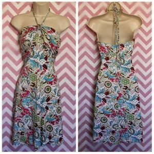 Guess Colorful Paisley Halter Tie Dress Size M